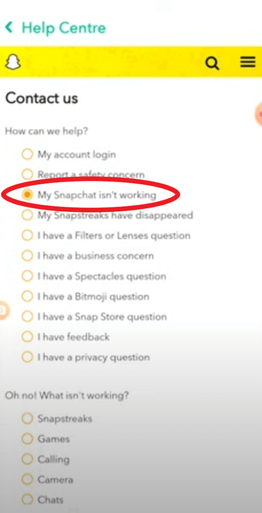 my snapchat isnt working contact page