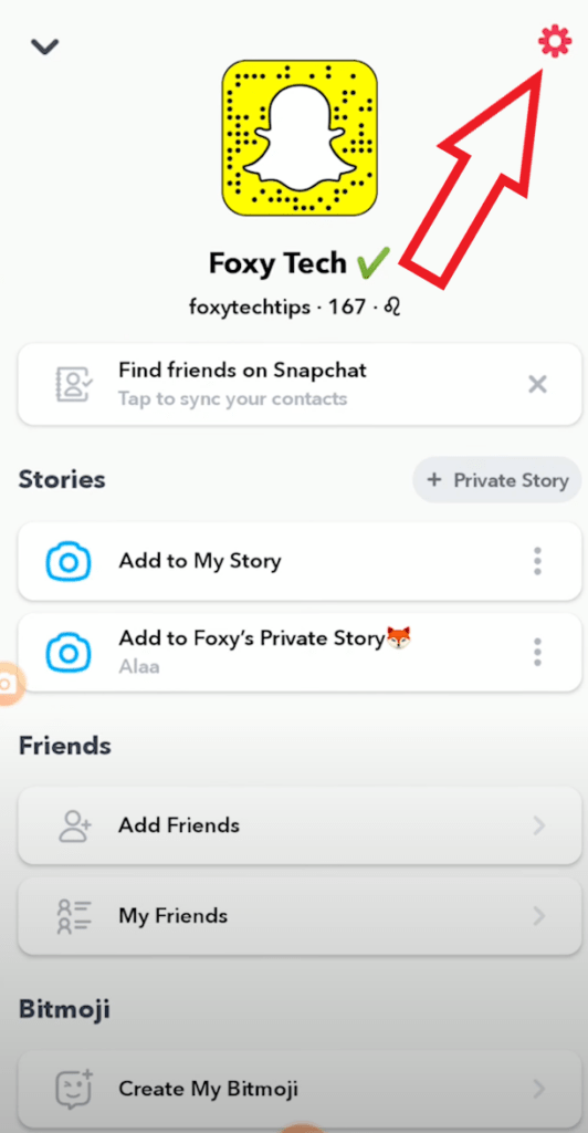 get verified on snapchat tap settings cog