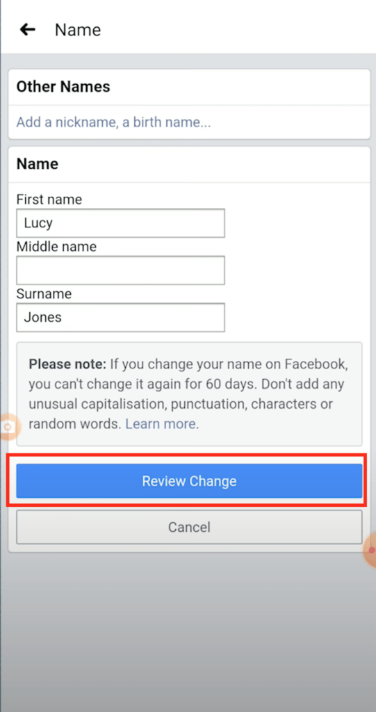 How To Change Facebook Name