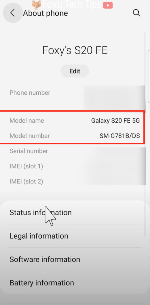 find model number Samsung galaxy